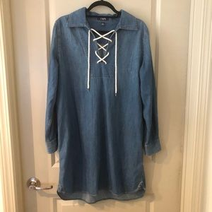Chaps Denim Dress with Rope Tie up Neck Line